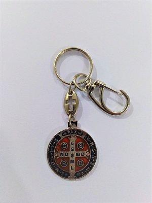 Chaveiro de São Bento com mosquetão - Pacote com 3 peças - Cód.:2638