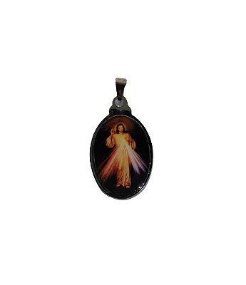 Medalha Cromada Colorida de Jesus Misericordioso - A duzia - Cód.: 3630