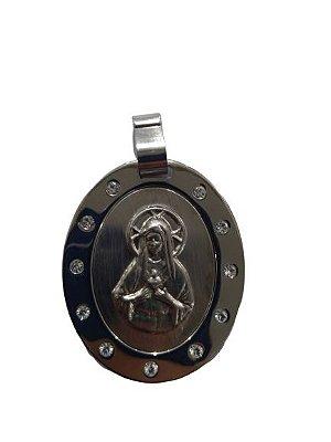Medalha em Aço Inox, Sagrado Coração de Maria com strass - O pacote com 6 peças - Cód.: 1830