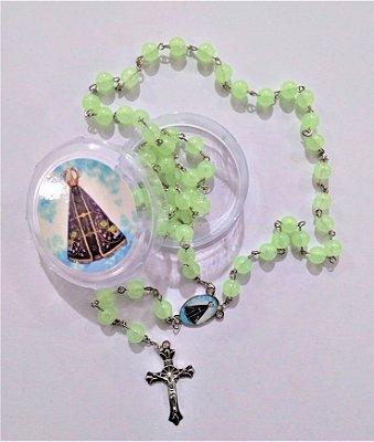 Terço Plastico Fosforescente de Nossa Senhora Aparecida - A Dúzia - Cód.: 5032
