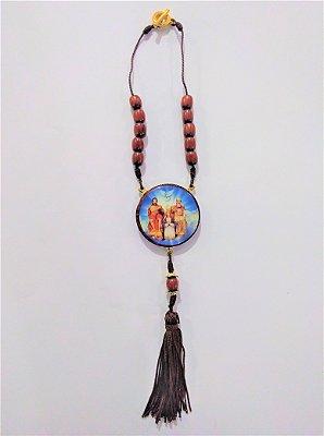Medalhão para carro, em madeira resinada com fecho - Divino Pai Eterno - O pacote com 3 peças - Cód.: 0721
