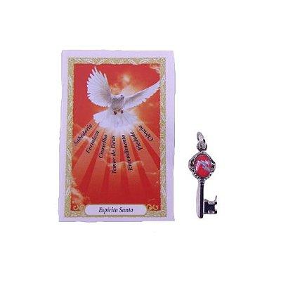 Folheto com oração e Pingente Chave - Divino Espírito Santo - A Dúzia - Cód. 8111