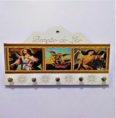 Porta Carta e chave de MDF - Arcanjos - O pacote com 3 peças - Cód.: 2225