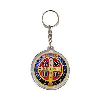 Chaveiro Acrílico Medalha de São Bento - A dúzia - Cód.; 8516