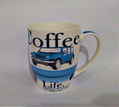Caneca Redonda de Porcelana Coffe Life - A unidade - Ref.: 2488