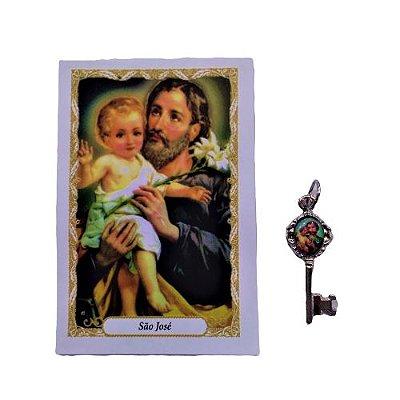 Folheto com Oração e Pingente Chave - São José - A dúzia - Cód.: 8111