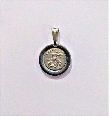 Medalha Redonda de Aço Inox com Imagem de São Jorge - O Pacote com 6 Peças - Cód.: 1905
