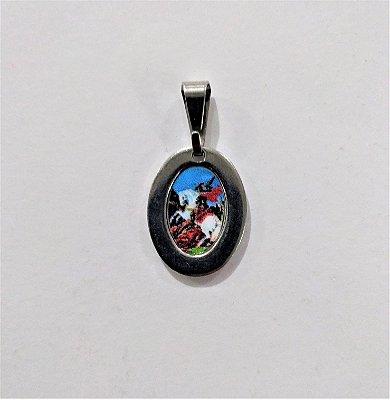 Medalha de Aço Inox com Imagem Colorida de São Jorge - O Pacote com 6 Peças - Cód.: 1905
