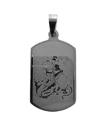 Medalha de Aço Inox Chapa de São Jorge - O pacote com 6 peças - Cód.: 554