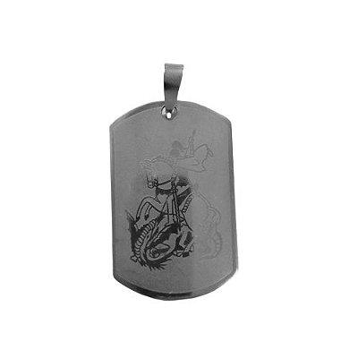 Medalha de Aço inox Chapa Curva de São Jorge - O pacote com 6 peças - Cód.: 554