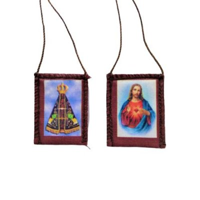 Escapulário de Tecido com Folheto de Oração, Sagrado Coração de Jesus e Nossa Senhora Aparecida - A dúzia - Cód.: 276