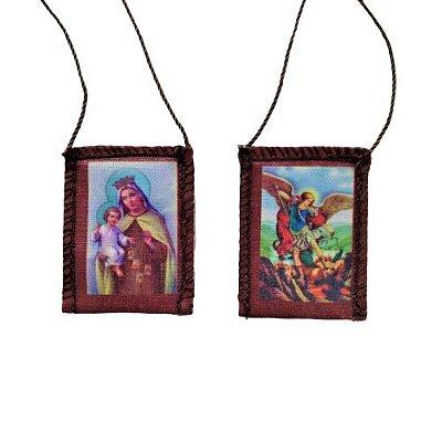 Escapulário de Tecido com Folheto de Oração, Nossa Senhora do Carmo e São Miguel - A dúzia - Cód.: 276