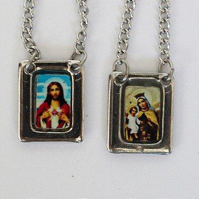 Escapulário em Aço Inox com Foto Colorida, Sagrado Coração de jesus e Nossa Senhora do Carmo - O pacote com 6 peças - Cód.: 8848