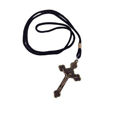 Cordão com Cruz de São Bento Cor Ouro Velho - A dúzia - Cód. 4141
