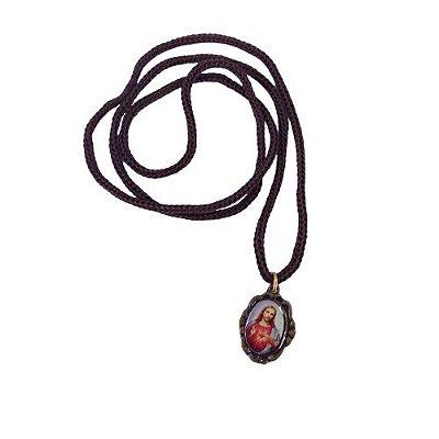 Cordão com Medalha Ramo, Sagrado Coração de Jesus - A dúzia - Cód.: 3916