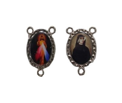Entremeio Resinado, Jesus Misericordioso e Santa Faustina - A dúzia - Cód.: 8776