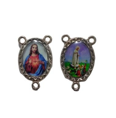 Entremeio Resinado, Sagrado Coração de Jesus e Nossa Senhora de Fátima - Cód.: 8776