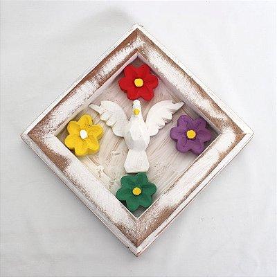Quadro Divino Espírito Santo de parede 15x15cm - artesanal - A peça - Cód.: 6588