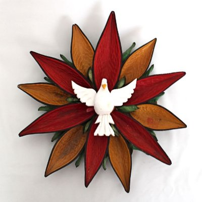 Divino Espírito Santo artesanal - Mandala de folhas - Dois tamanhos - Preço por unidade