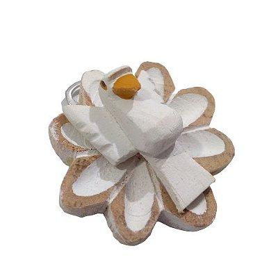 Mini Flor com Divino em madeira - A Dúzia - Cód.: 4101