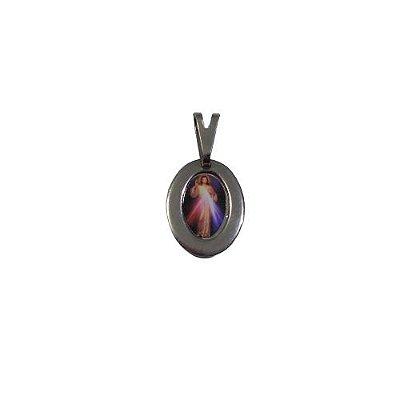 Medalha em Aço Inox com Foto Colorida de Jesus Misericordioso - A Dúzia - Cód.: 1905