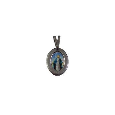 Medalha de Aço Inox com Foto COlorida de Nossa Senhora das Graças - O Pacote com 6 Peças - Cód.: 1905