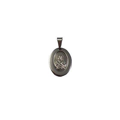 Medalha de Aço Inox com Imagem do Sagrado Coração de Jesus - A Dúzia - Cód.: 1905