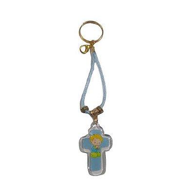 Chaveiro Cordão com Cruz Infantil na Cor Azul - O Pacote com 6 peças - Cód.: 7877