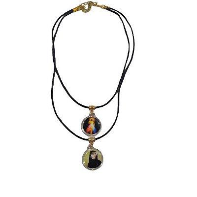 Gargantilha com Dois Cordões e Medalhas em Acrílico- Santa Faustina e Jesus Misericordioso - O Pacote com 6 peças -Cód.: 8519