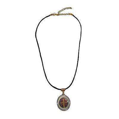 Cordão Preto com Medalha Acrílica de São Bento - O Pacote com 6 peças - Cód.: 8521