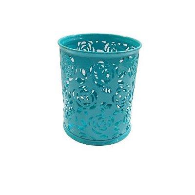 Porta Lápis de Metal Vazado na Cor Azul - O Pacote com 2 peças - Cód.: 2489