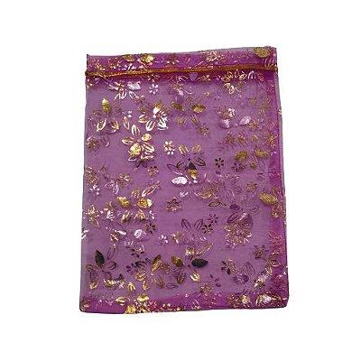 Saquinho de Organza na Cor Lilas com Desenhos de Flores - A Dúzia - Cód.: 494