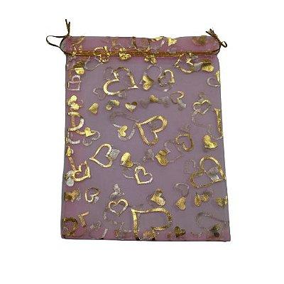 Saquinho de Organza na Cor Rosa com Desenhos de Corações - A Dúzia - Cód.: 494