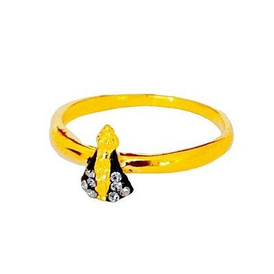 Anel dourado Nossa Senhora Aparecida em metal com strass - Pacote com 6 peças - Cód.: 881
