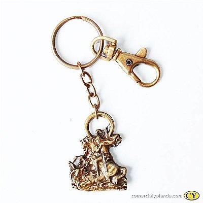 Chaveiro de São Jorge estátua em metal, cor ouro velho, com mosquetão - Pacote com 3 peças - Cód.: 2448