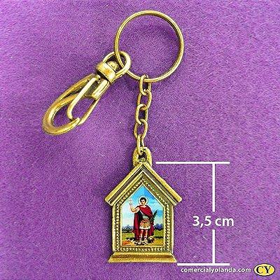 Chaveiro em metal de Santo Expedito - Pacote com 3 peças - Cód.: 3035