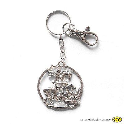 Chaveiro São Jorge em metal - Pacote com 3 peças - Cód. 3037