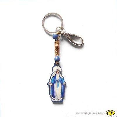 Chaveiro em madeira de Nossa Senhora das Graças, com mosquetão - Pacote com 3 peças - Cód. 3661