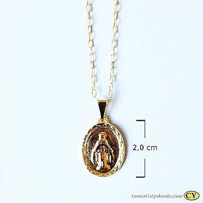 Colar dourado Nossa Senhora das Graças - O Pacote com 3 unidades - Cód.: 5179/012012