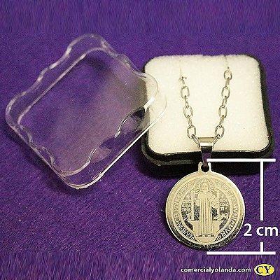 Medalha de São Bento inox redonda com corrente - pacote com 3 unidades - Cód.: 6635
