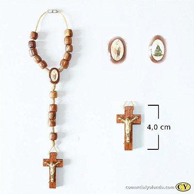 Dezena em madeira com cristo e entremeio resinado - A Dúzia - Cód.: 0883