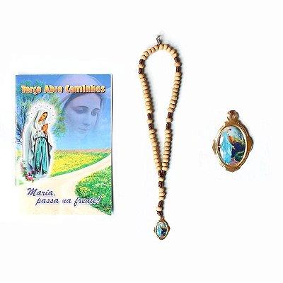 Terço com folheto de oração,  Maria passa na Frente - Pacote com 6 peças - Cód.: 1827