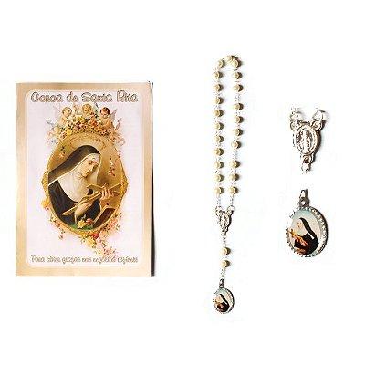 Terço com folheto de oração, Coroa de Santa Rita - A Dúzia - Cód.: 2193