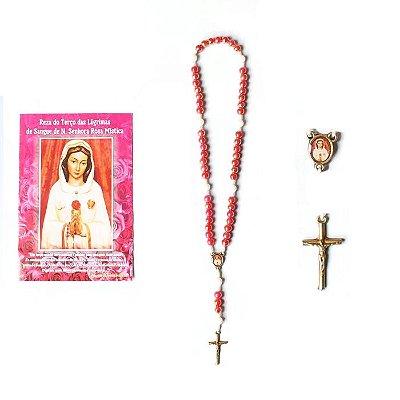 Terço com folheto de oração, Reza das Lagrimas de Sangue de Nossa Senhora da Rosa Mistica - A Dúzia - Cód.: 1869