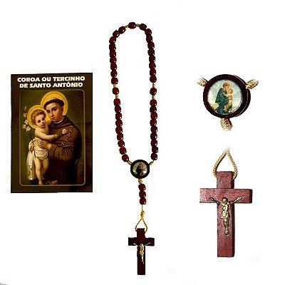 Terço com folheto de oração, Santo Antônio - A Dúzia - Cód.: 0893