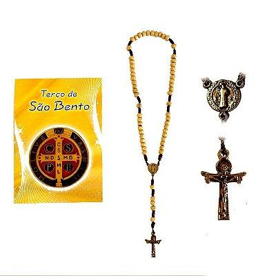 Terço com folheto de oração, São Bento - A Dúzia - Cód.: 1849