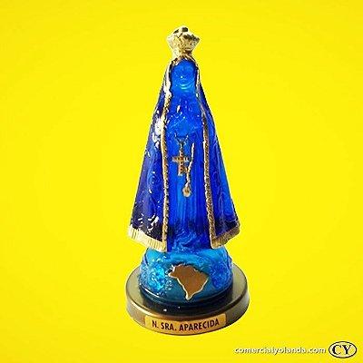 Imagem de Nossa Senhora Aparecida em plástico azul transparente - Base em plástico, cor ouro velho - O Pacote com 3 peças - Ref.: IBAP66