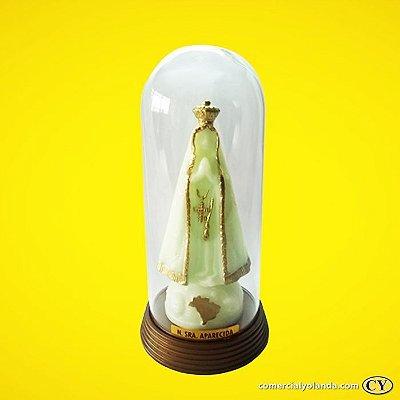 Imagem de Nossa Senhora Aparecida fosforescente com cúpula e base em plástico, cor ouro velho - O pacote com 3 peças - Ref.: IRAP13