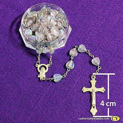 Terço de metal com contas em formato de coração - O Pacote com 6 unidades - Cód.: 5035