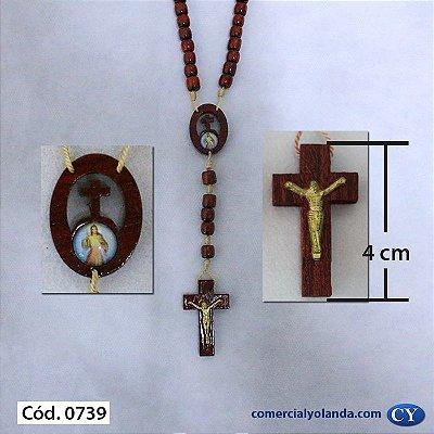 Terço com entremeio vazado de Jesus Misericordioso x Nossa Senhora das Graças - A Dúzia - Cód.: 0739